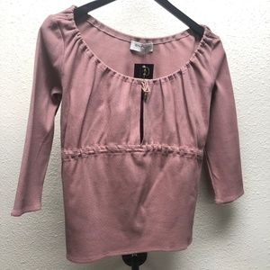 Givenchy Pink Top 3/4 Sleeve Boat Neck Tie Waist
